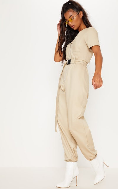be67d08e43b6 Stone Cargo Zip Up Jumpsuit
