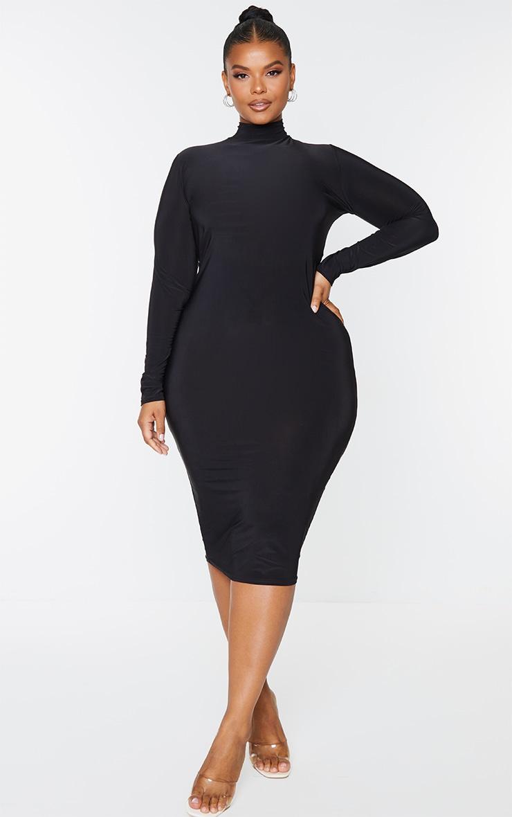 Plus Black Open Back Ring Detail Long Sleeve Midi Dress 2