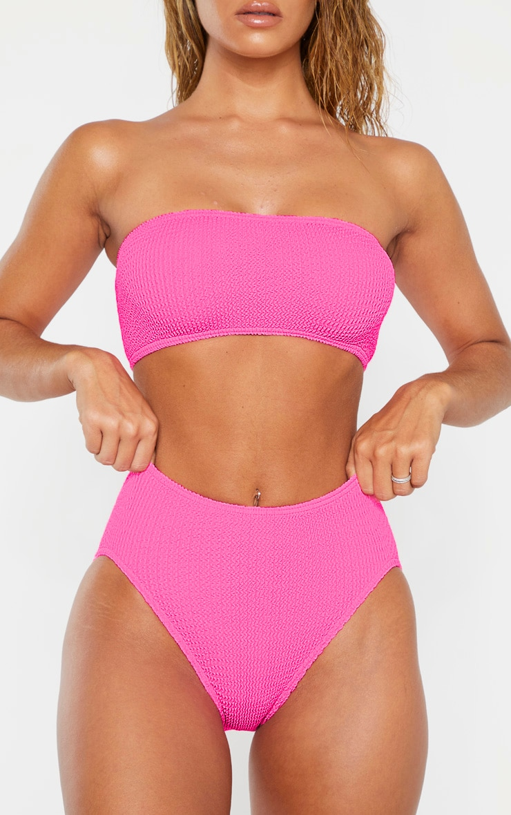 Neon Pink Crinkle High Waist Bikini Bottom 5