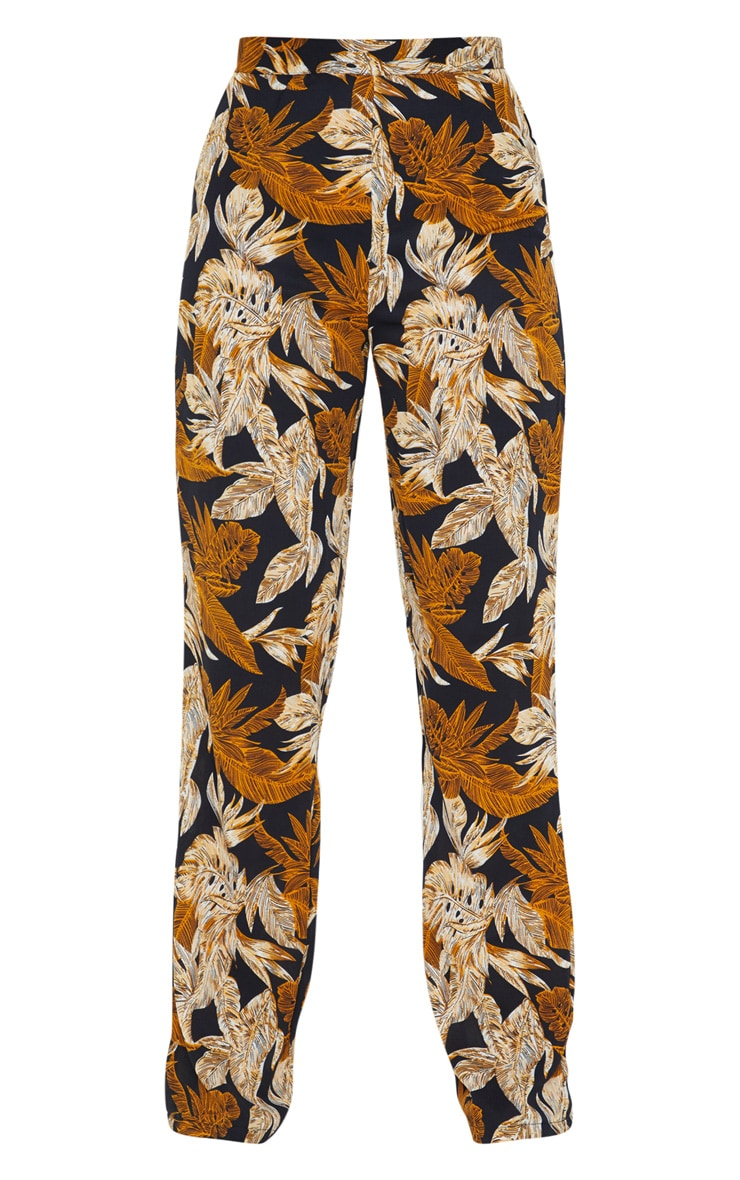 Black Palm Leaf Print Beach Flares 6