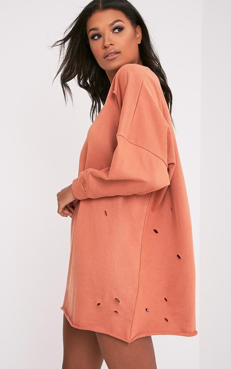 Emilia Deep Peach Distressed Raw Edge Sweater Dress 4
