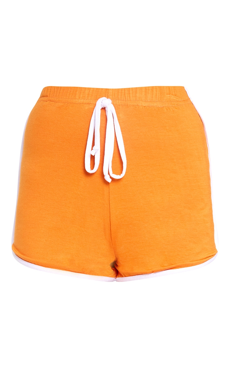 Orange Contrast Binding Runner Shorts 3