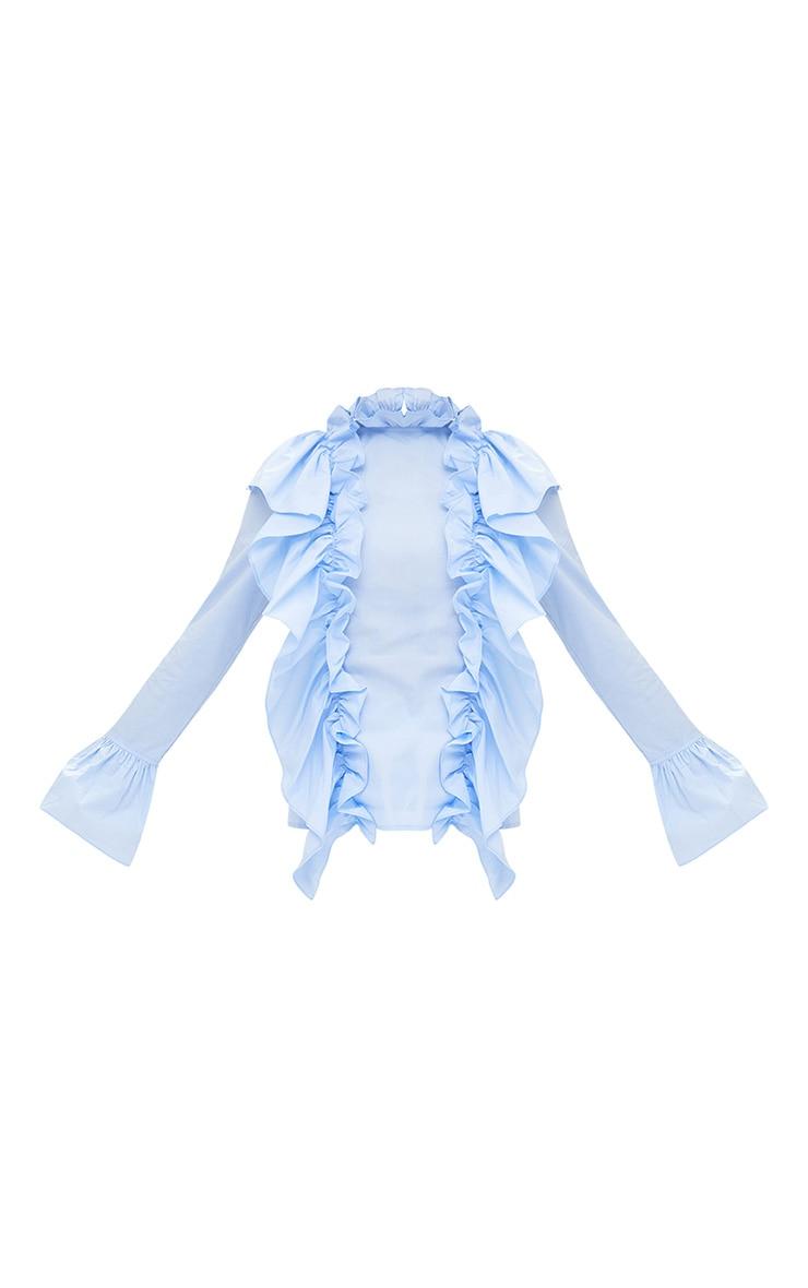 Blue Ruffle Frill High Neck Shirt 3