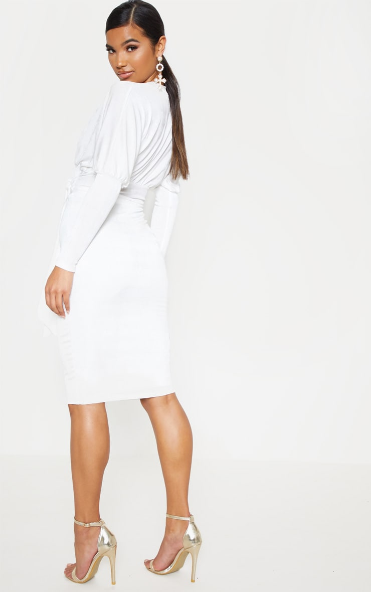 White Balloon Sleeve Tie Waist Midi Dress 2