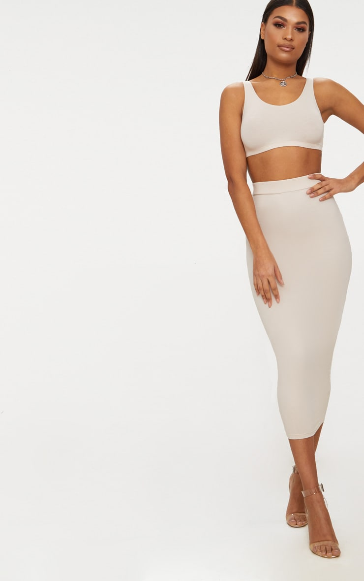 Crop top moulant blanc crème à encolure ronde 3