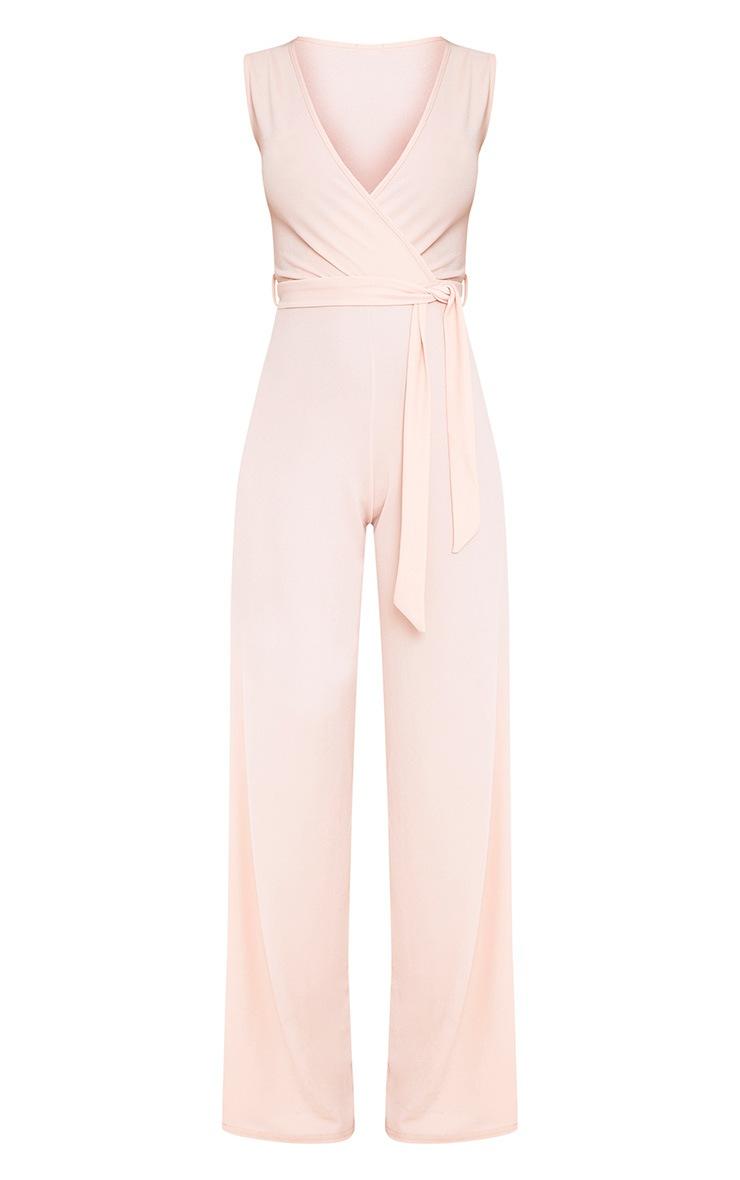Blush Wrap Detail Tie Waist Jumpsuit 3