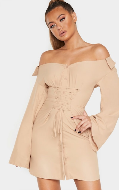 Biscuit Bardot Flare Sleeve Lace Up Shirt Dress