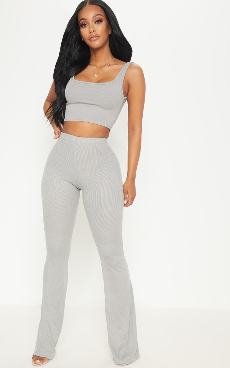Shape Charcoal Ribbed Scoop Neck Crop Top  4