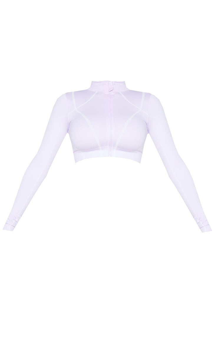 PRETTYLITTLETHING Shape Lilac Zip Up Gym Top 5