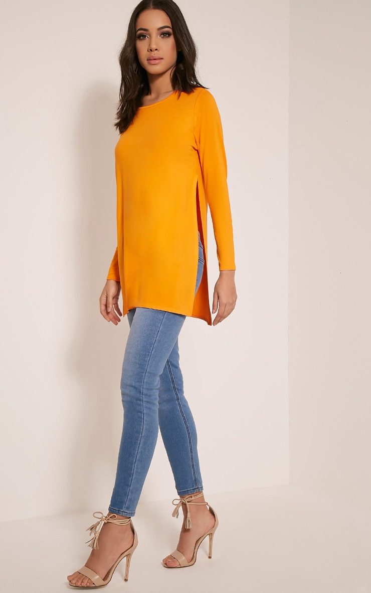 Basic Bright Orange Long Sleeve Side Split Top 5