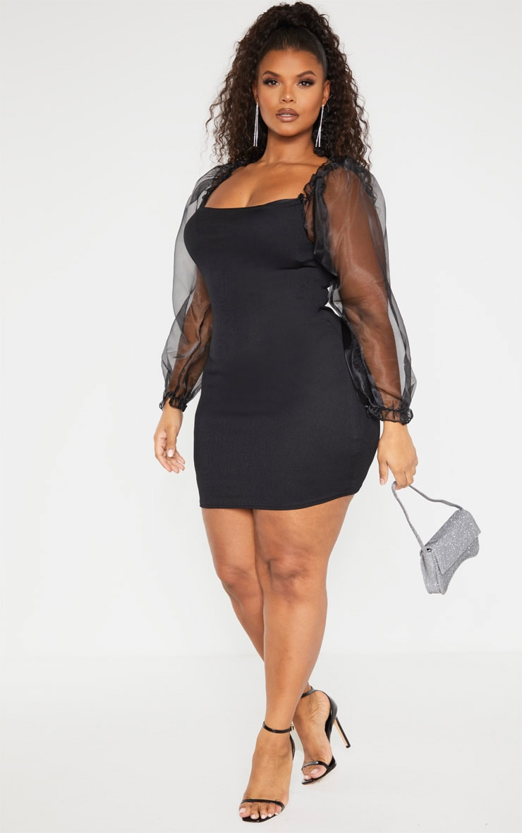 Plus Black Long Sleeve Organza Bodycon Dress 4
