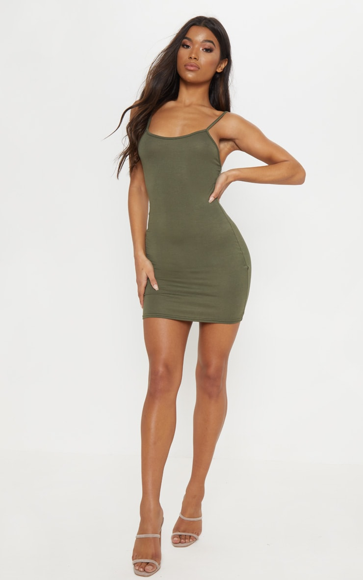 Basic robe moulante kaki à bretelles 1