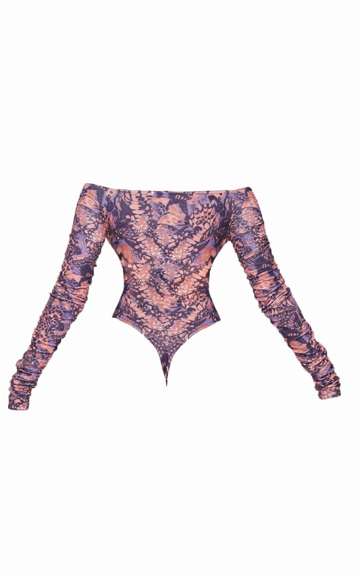 Multi Print Bardot Zip Ruched Sleeve Bodysuit 6
