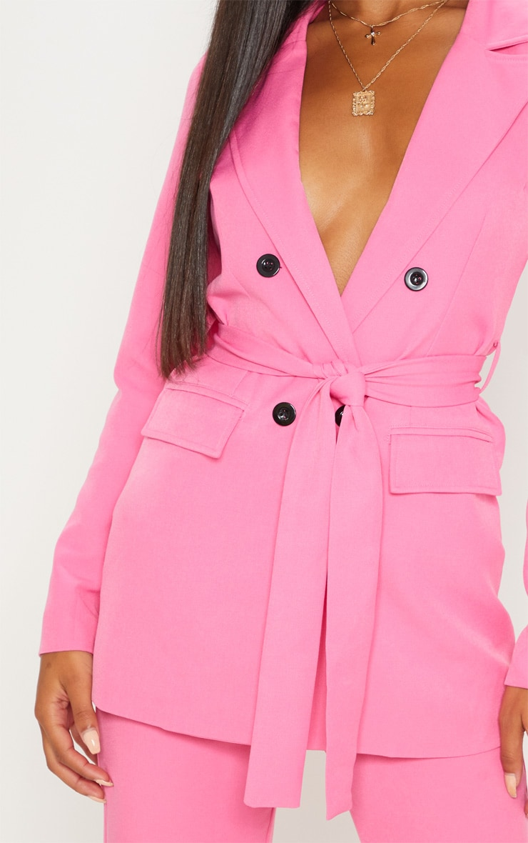 Pink Belted Longline Blazer  5