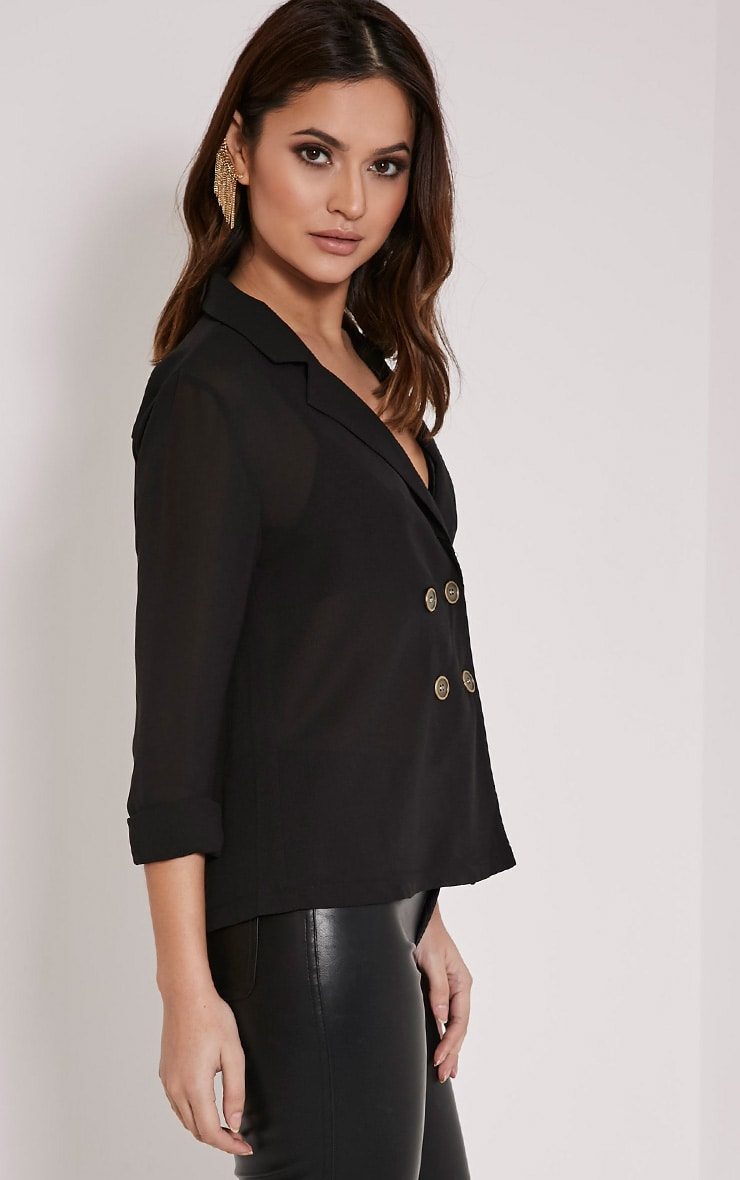 Elane Black Open Collar Blouse 3