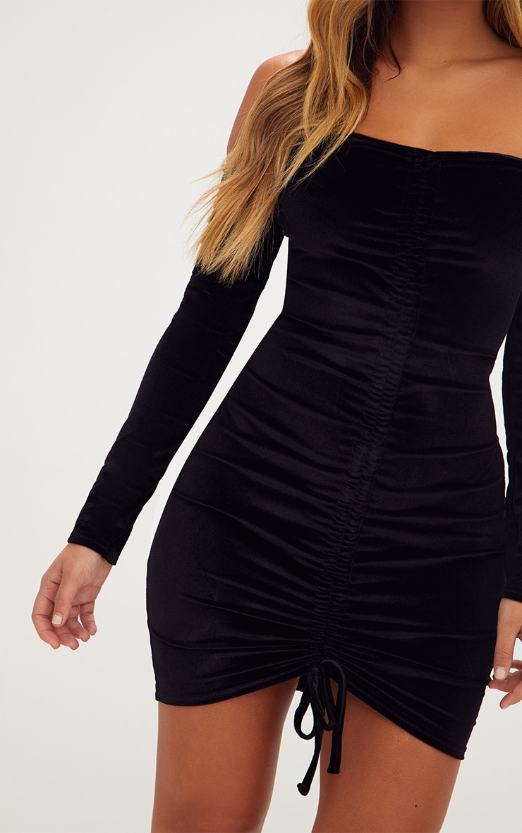 Black Velvet Long Sleeve Bardot Ruched Bodycon Dress 5