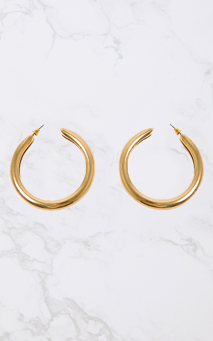 Gold Large Thick Hoops 3