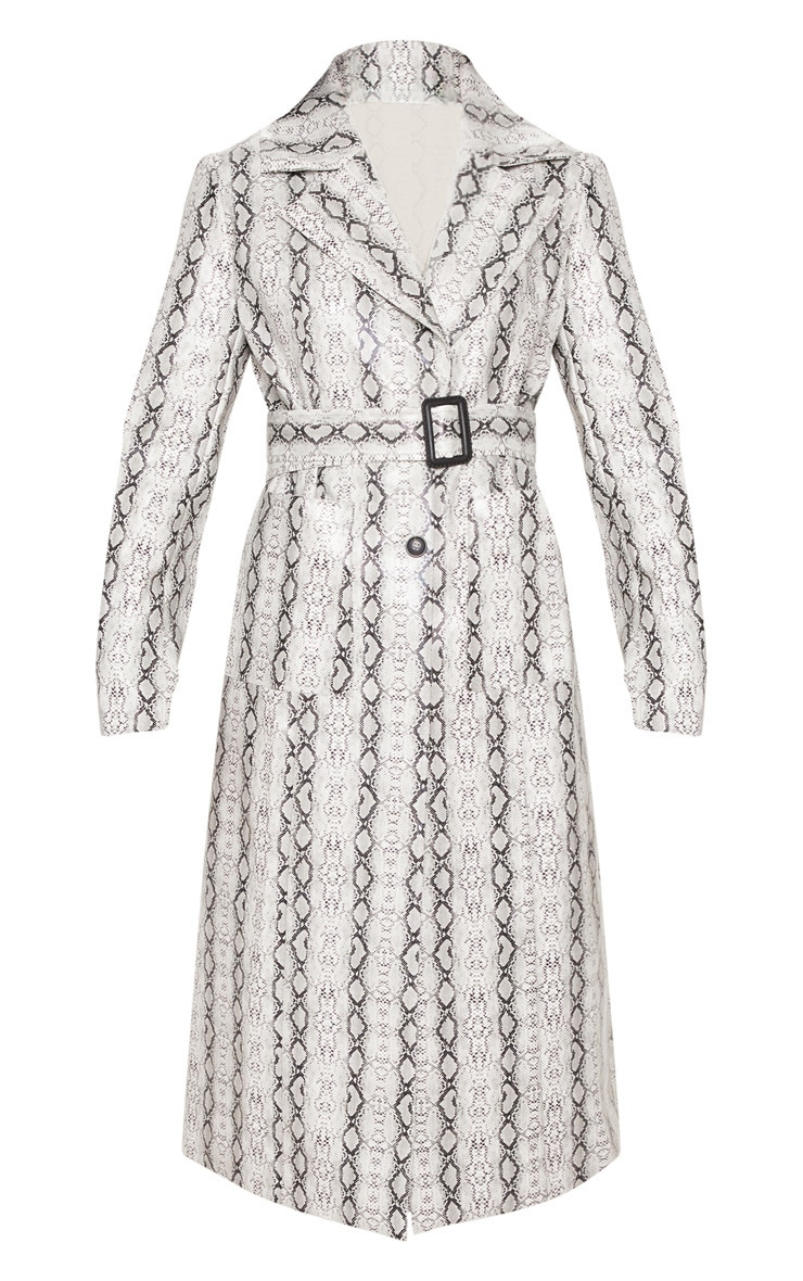 Grey Snake Print PU Trench 3