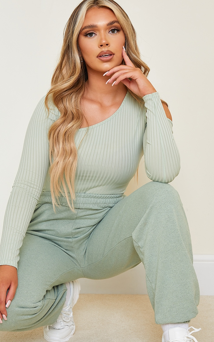 Sage Green Rib Cut Out Long Sleeve Bodysuit 4