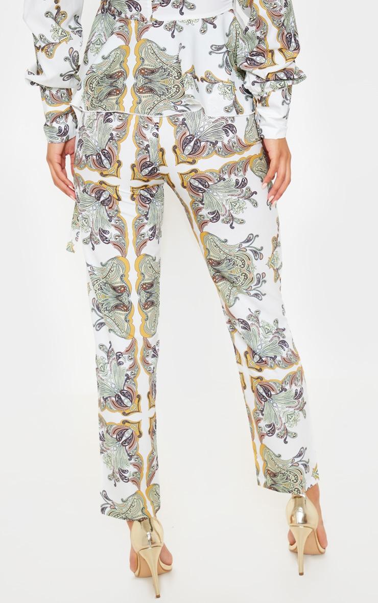 White Paisley Tile Print High Waisted Cigarette Trouser 4