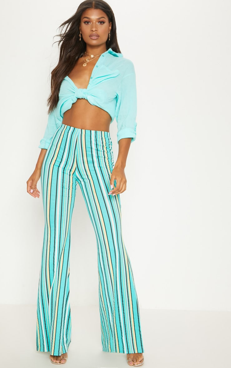 Aqua Green Jersey Stripe Jersey Flared Trouser