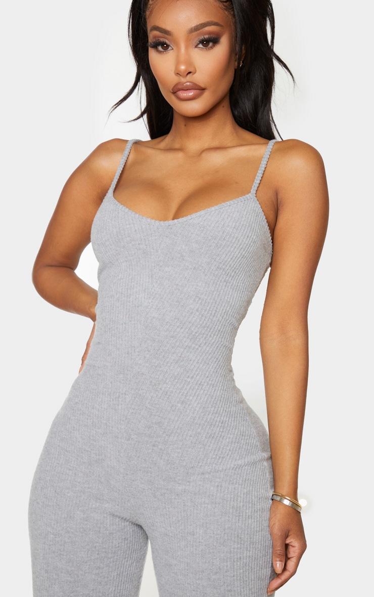Shape Grey Brushed Rib Strappy Jumpsuit 4