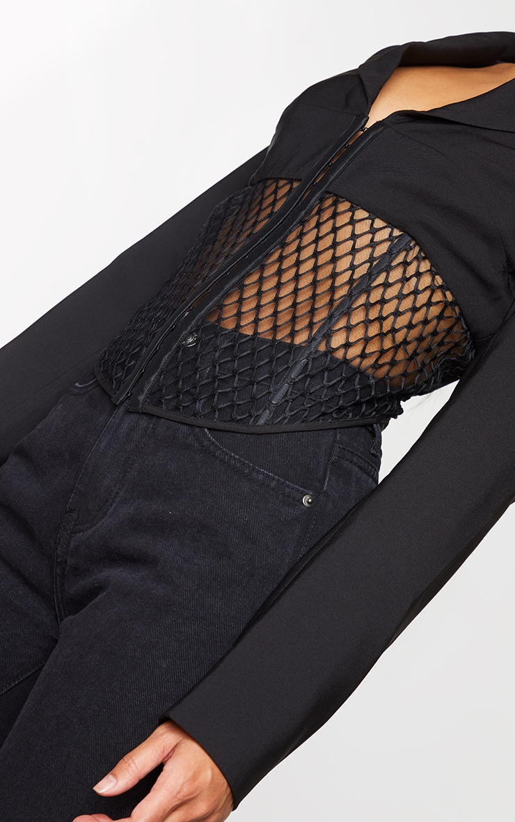 Black Mesh Cut Out Dipped Hem Blazer 4