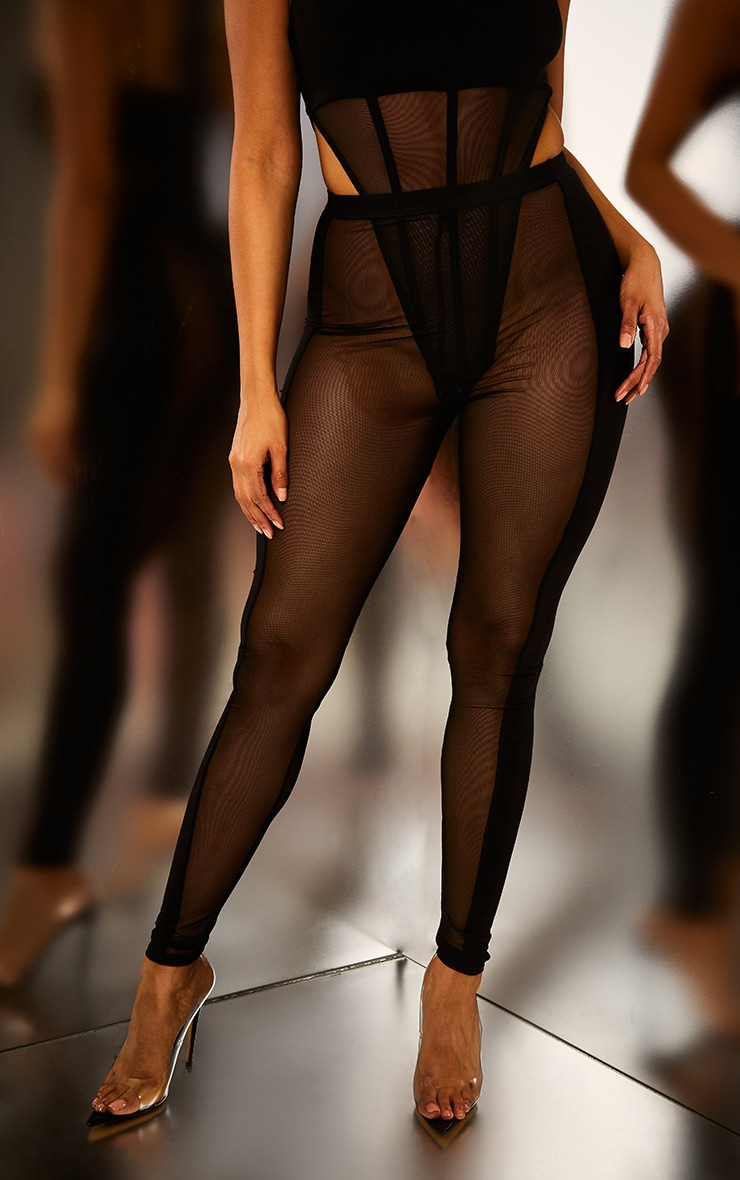Black Mesh Panel Leggings 2