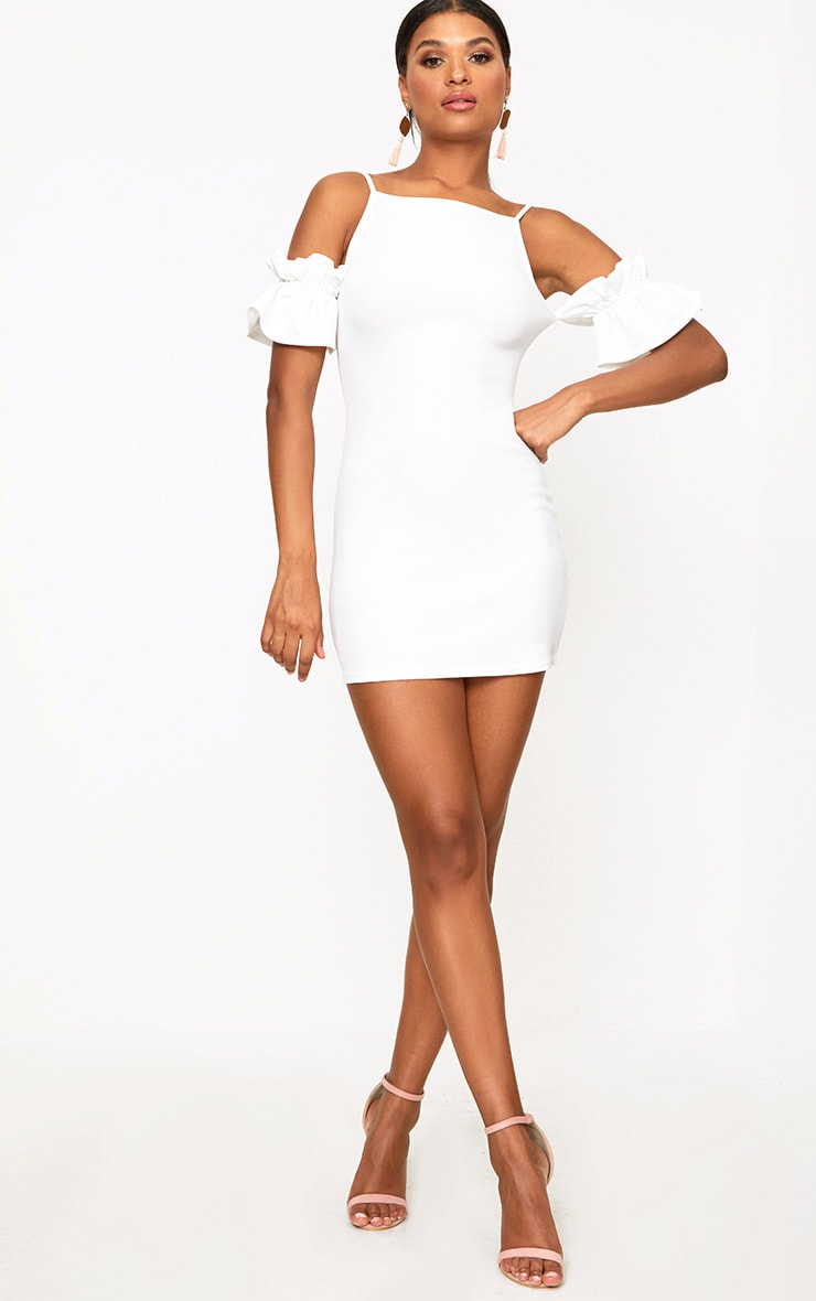White Ruffle Sleeve Detail Cold Shoulder Bodycon Dress 4