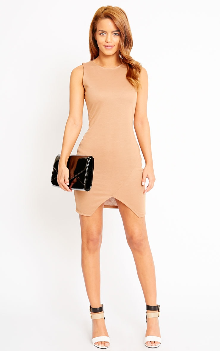 Ahana Camel V-Front Hem Mini Dress 3