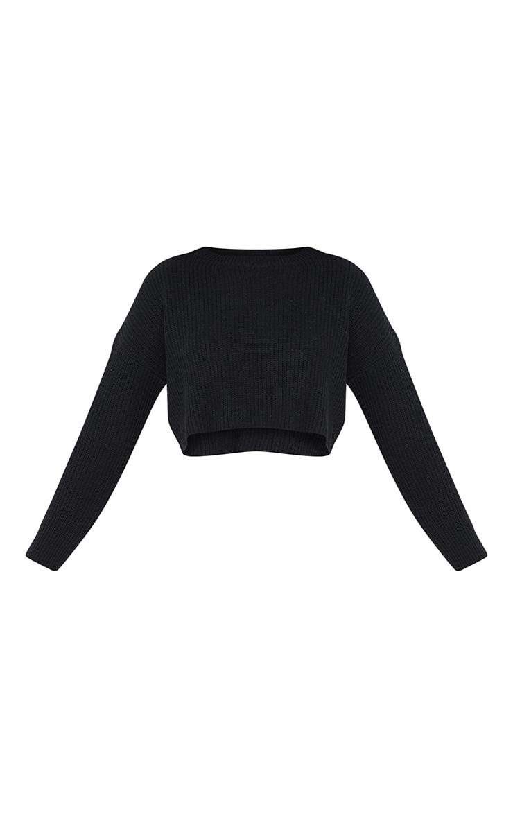 Black Basic Crew Neck Crop Sweater 5