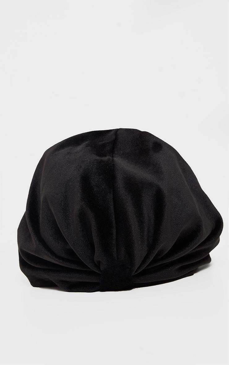 Turban noir noué en velours  3