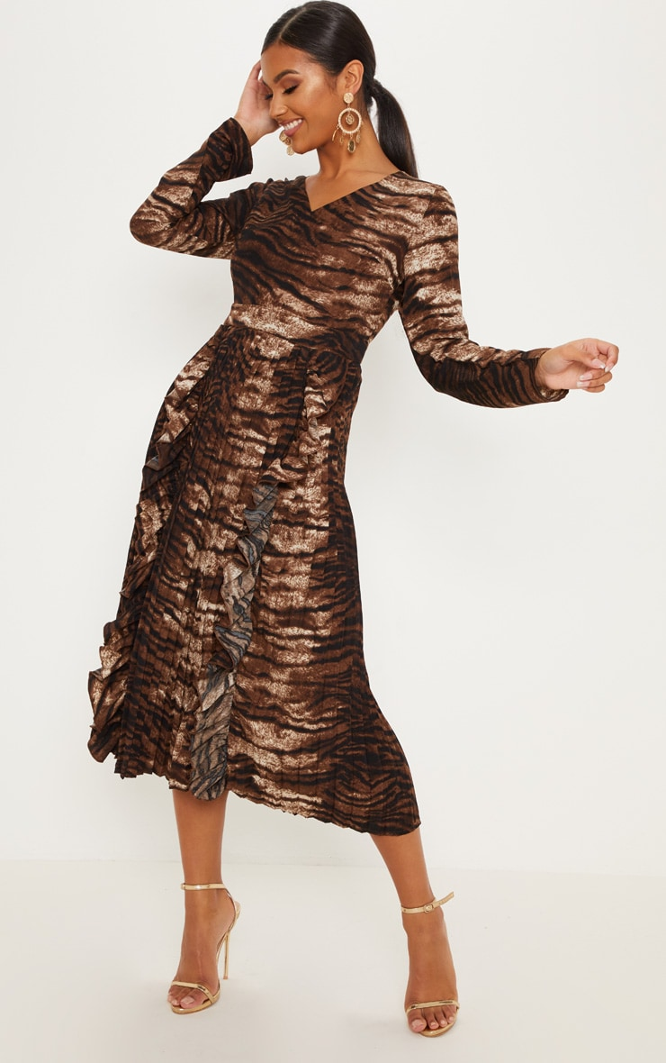 d55d551409 Chocolate Tiger Print Long Sleeve Frill Detail Pleated Skater Midi Dress  image 1