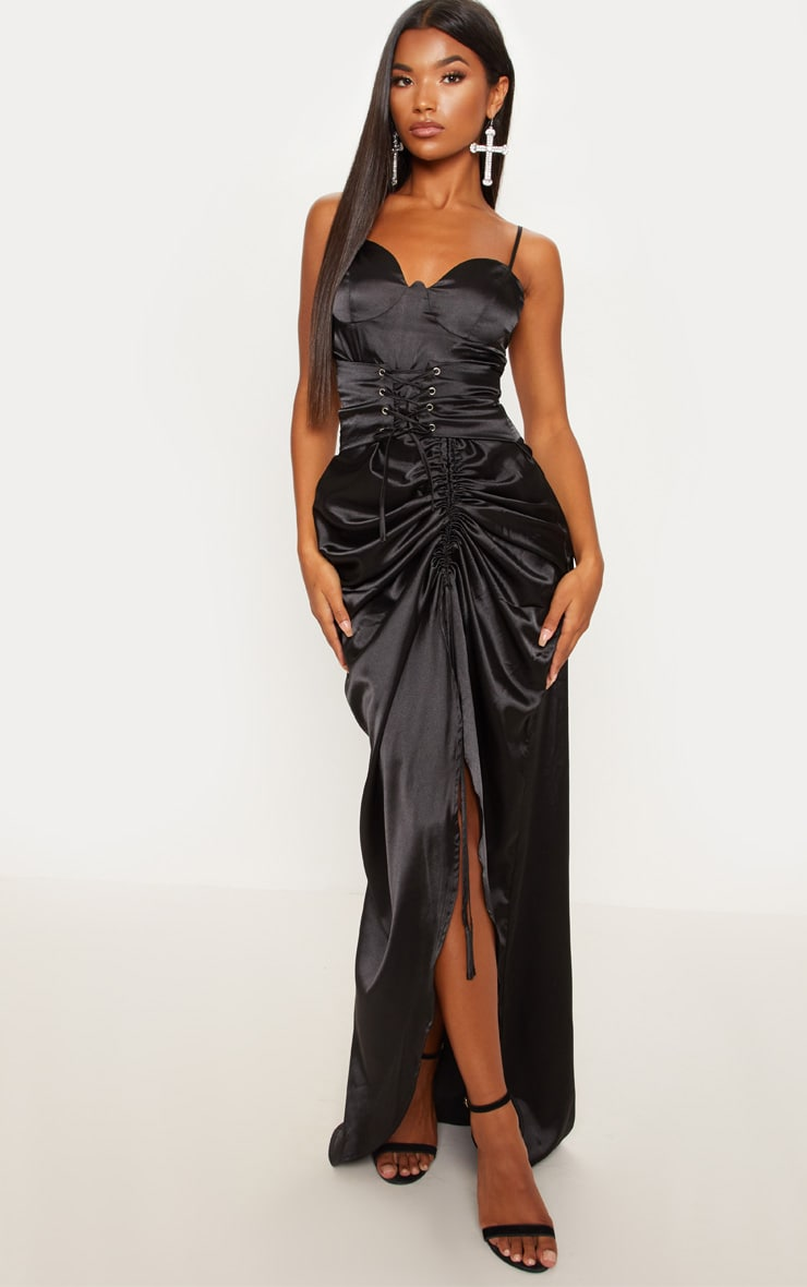 67136636b8 Black Satin Corset Ruched Maxi Dress image 1