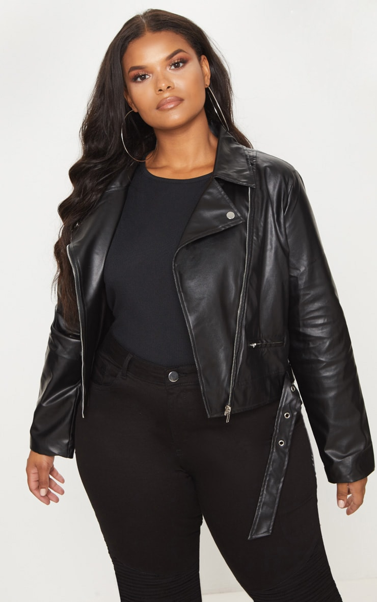 Plus Black PU Biker Jacket 1