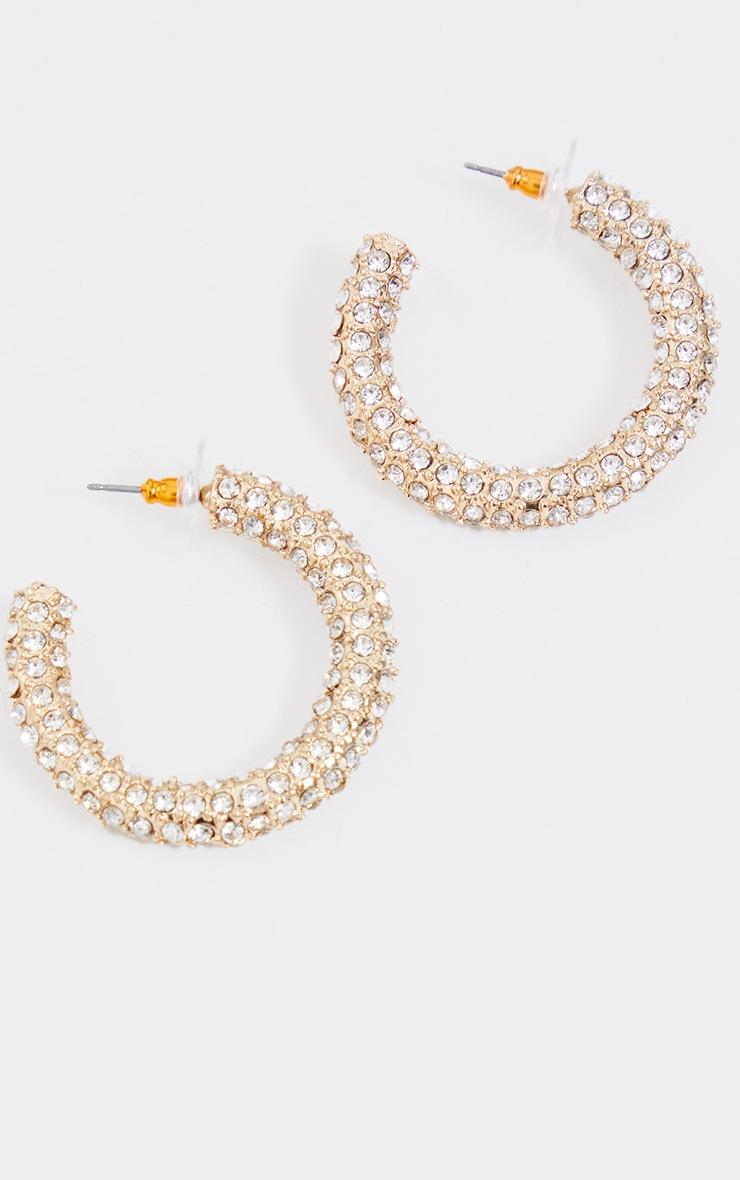 Gold Chunky Diamante Hoops 3