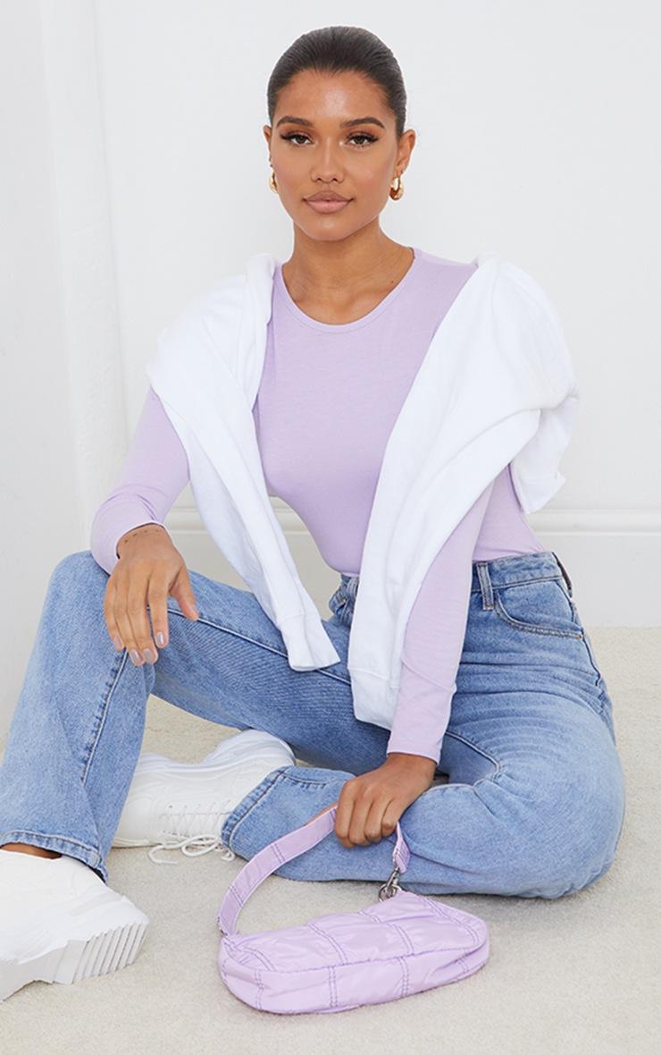 Basic Lilac  Crew Neck Long Sleeve Bodysuit 3