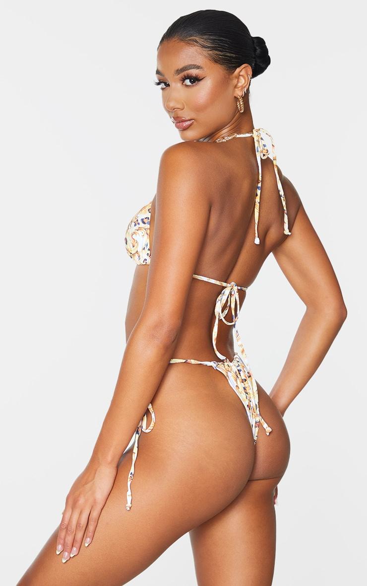 White Chain Print Triangle Padded Bikini Top 2