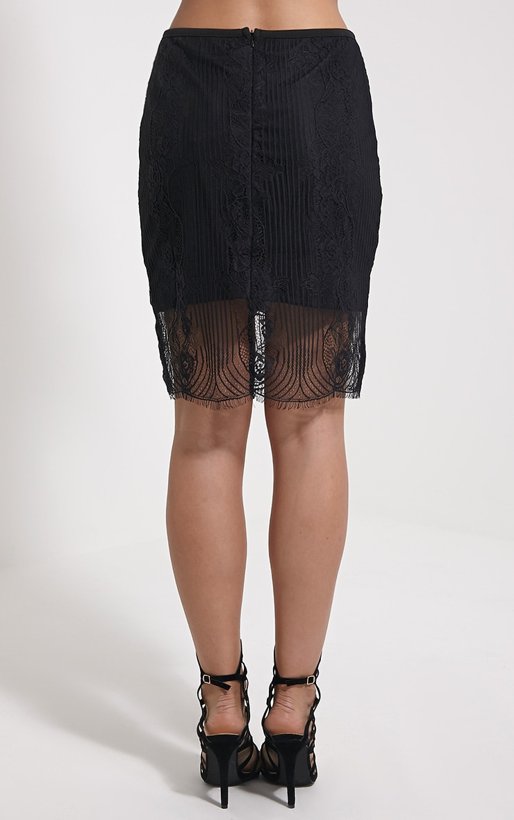 Luisa Black Lace Mini Skirt 4