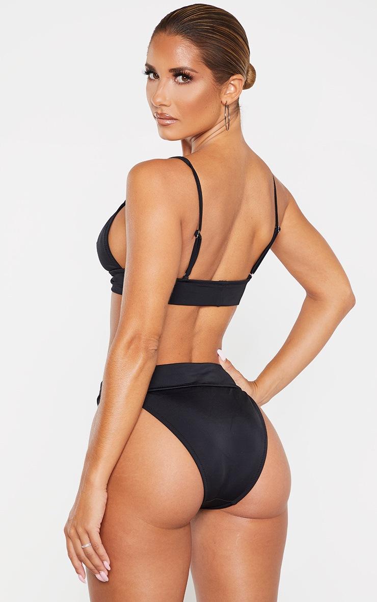 PRETTYLITTLETHING Black Triangle Bikini Top 2