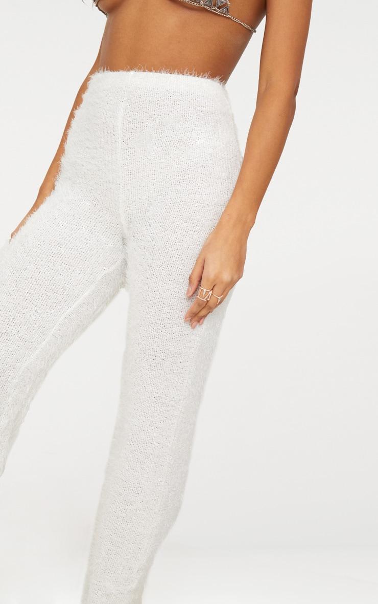 Cream Fluffy High Waisted Flare Leg Trouser 5
