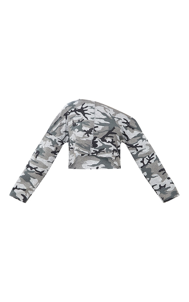 Grey Camo Off Shoulder Cropped Sweater 3
