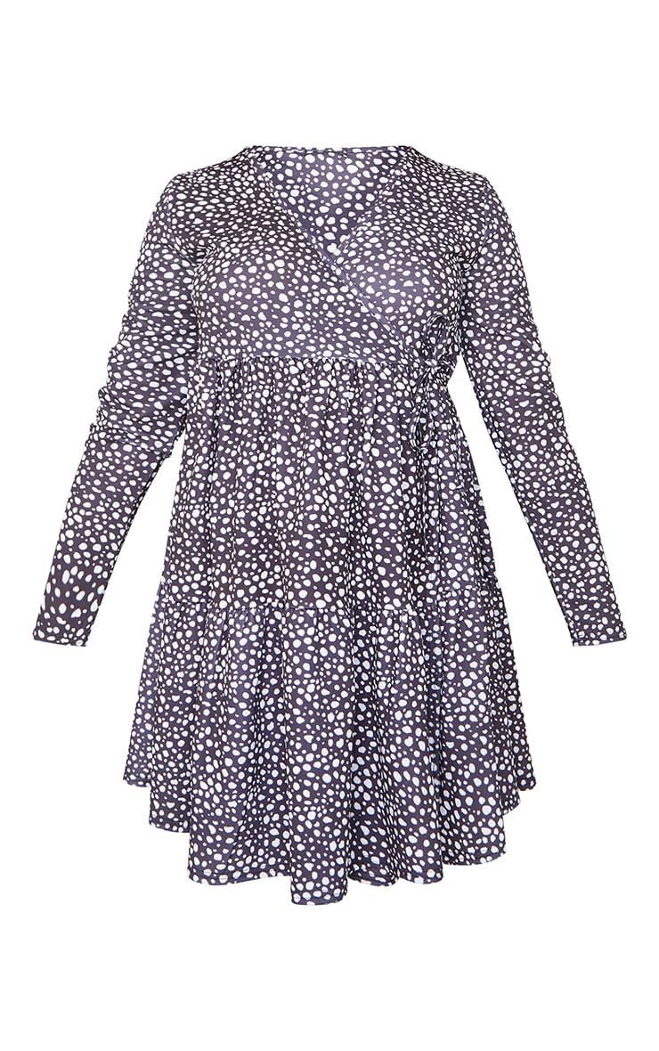 Maternity Black Polka Dot Tired Smock Dress 5