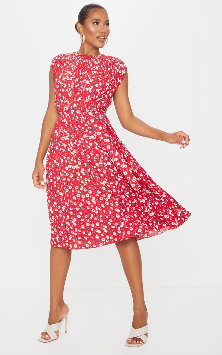 Red Floral Pleated Sleeveless Midi Dress 1