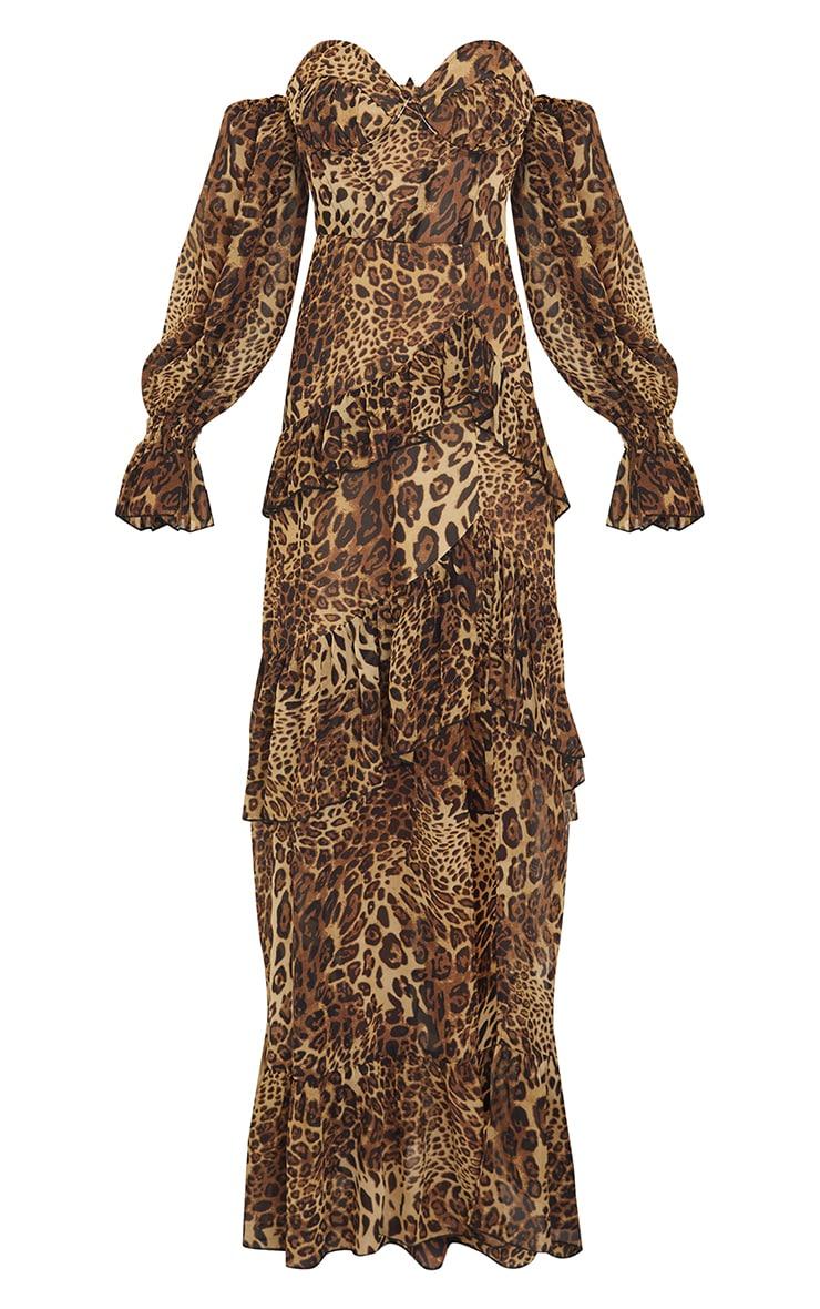 Tan Leopard Bardot Chiffon Cup Detail Maxi Dress 5