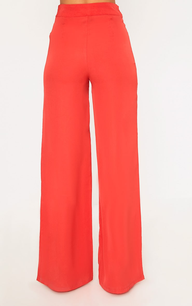 Red Wide Leg Suit Trousers 4