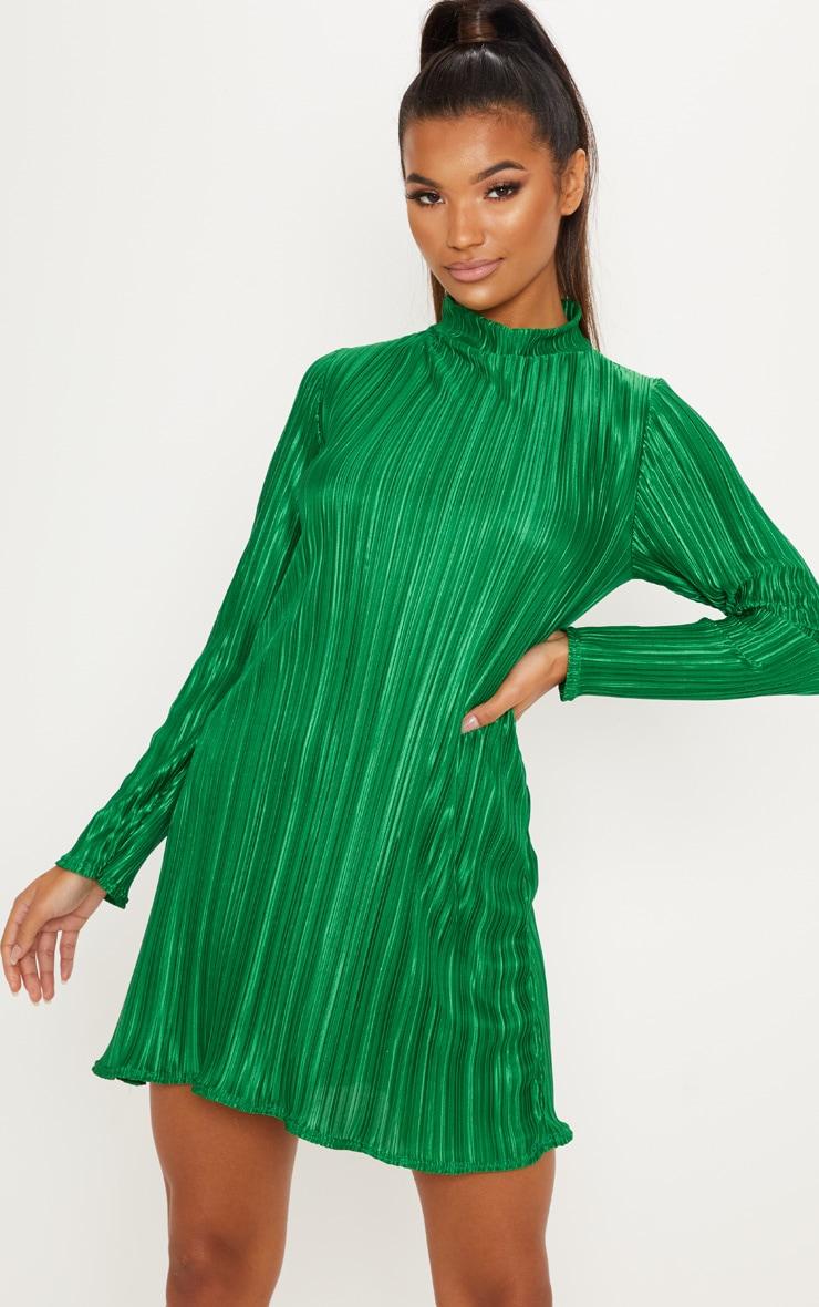 Green High Neck Plisse Swing Dress 4