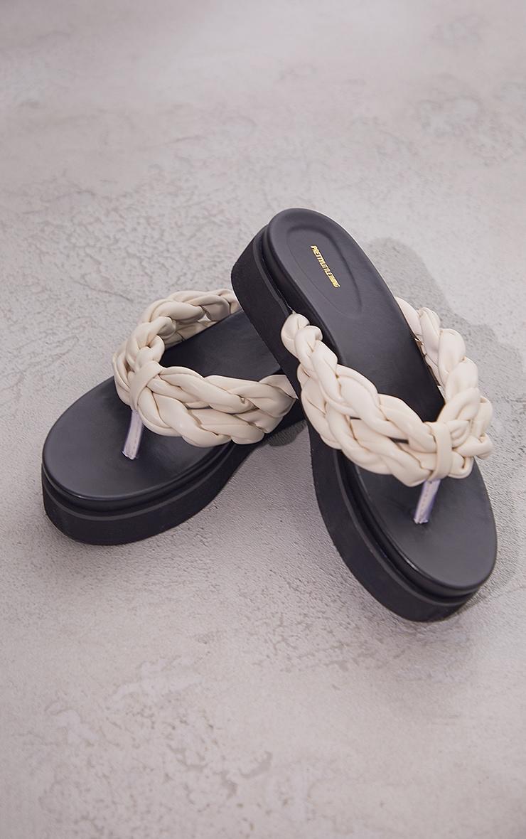 Cream PU Double Plaited Toe Thong Sandals 4