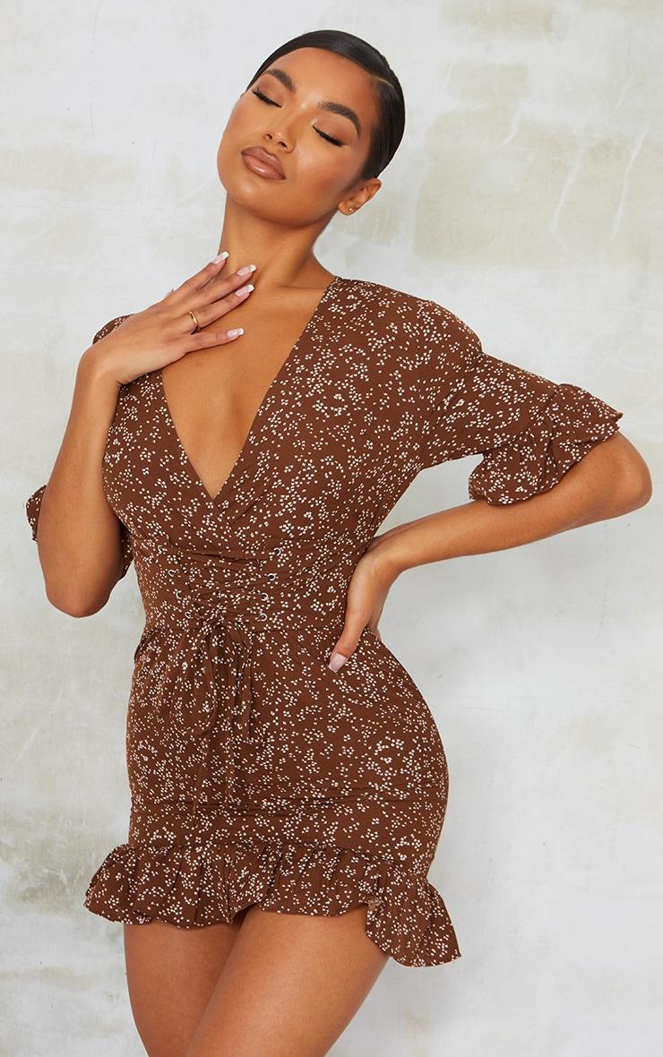 Chocolate Print Corset Swing Dress 1