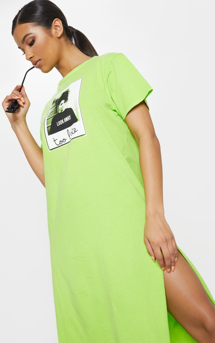 Washed Lime Too Late Slogan Oversized Midi Dress 5